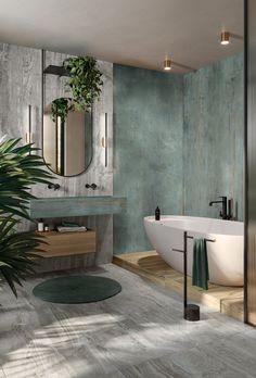 Stone Bathroom, Bathroom Renos, Small Bathroom, Green Marble Bathroom, Nature Bathroom, Green Bathroom Interior, Bad Inspiration, Bathroom Inspiration, Dream Home Design