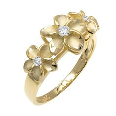 Three Plumeria Ring with 14K Yellow Gold Finish over Sterling Silver8 * Be sure to check out this awesome product.Note:It is affiliate link to Amazon.