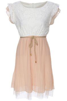#RomwePartyDress ROMWE   Layered Pleated Cream Dress, The Latest Street Fashion
