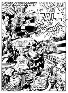 The Fall Of Asgard - Thor Splash Page by Jack Kirby & Bill Everett