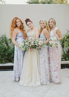 Pretty pastel mix and match floral bridesmaids dresses by Plum Pretty Sugar Couture in shades of lavender, blue, and pink Couture Bridesmaid Dresses, Bridesmaid Outfit, Wedding Dresses, Beach Wedding Bridesmaids, Floral Bridesmaids, Plum Pretty Sugar, Pretty Pastel, Wedding Styles, Wedding Ideas