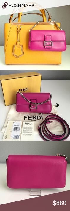 "Fendi Nappa Leather Micro Baguette Adorably cute baguette to complement and accessorize your Fendi bag. Squared-off logo hardware, nappa calfskin leather. 2 card slots, 1 slip pocket, flap closure, crossbody strap included. iPhone 6 (without a case) fits in slip pocket. Authentic, purchased at Nordstrom. Box, dust bag, authenticity tags included. New, never been used.  6"" x 3.5"" x 1"" Magenta with silver hardware. (Petite 2jour bag not included)  Fendi Bags Clutches & Wristlets"