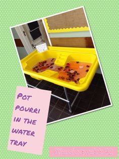 We had pot pourri in the water tray this week- a lovely sensory experience! Water Play Activities, Nursery Activities, Sensory Activities, Water Tray, Sand And Water, Sand Tray, Sensory Bins, Sensory Play, Nursery Water