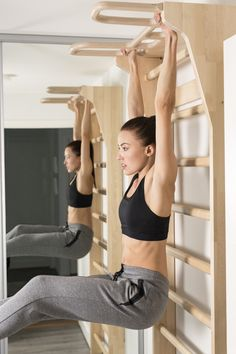 swedish ladder stretching - Google Search Small Home Gyms, At Home Gym, Fitness Centers, Home Gym Design, Ladder, Stretches, Bedroom Ideas, Exercise, Google Search