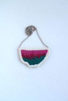 Embroidered abstract pendant in ombre colors by AnAstridEndeavor