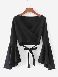 Bell Sleeve Knotted Hem Surplice Blouse -SheIn(Sheinside) - Bell Sleeve Knotted Hem Surplice Blouse -SheIn(Sheinside) Source by - Teen Fashion Outfits, Mode Outfits, Stylish Outfits, Girl Outfits, Fashion Dresses, Women's Fashion, Fashion Sale, School Outfits, Vetement Fashion