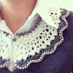 Crocheted Peter Pan Collar is a free pattern on Ravelry. The pattern can be easily adapted for different sizes by increasing or decreasing the foundation chain in multiples of 4.