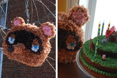"""Animal Crossing-themed Birthday Party // My Paper Crane ---- love how the brownie """"cake"""" is decorated, and really love the Nook pinata! 13th Birthday Parties, 11th Birthday, Baby Birthday, Birthday Party Themes, Birthday Wishes, Birthday Ideas, Animal Crossing Game, Diy Holiday Gifts, Folk"""