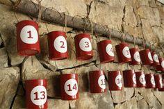 Empty Mutti Polpa Tins make a great Advent Calendar.