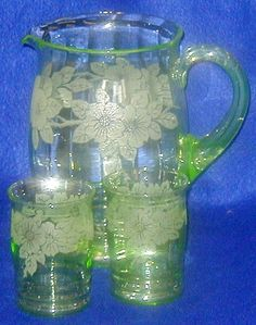 Depression Glass; MacBeth-Evans Glass Co, Dogwood, Green, Pitcher & Tumblers (6). Circa 1929 -1932