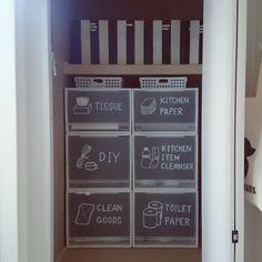 「たくさんいいねをありがとうございました!」 「納戸」 「収納」 「白黒」...etcが写っているa-chan.mamaさんのインテリア実例写真を紹介します。2014-06-10 10:42:35に撮影されました。 Kitchen Storage Boxes, Storage Cabinets, Kitchen Organization, Organization Hacks, Closet Storage, Locker Storage, Pretty Room, Toilet Cleaning, Tidy Up