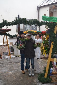 Sarah Müller from Germany, EVS volunteer in Plzeň (Czech Republic).  This picture was taken in České Budějovice, Czech Republic. In the morning they created some Christmas present (Christmas Wreath) and in the afternoon they did a little program for children with the organization SMOK. Although it was a very cold day, it was one of the best days she had.