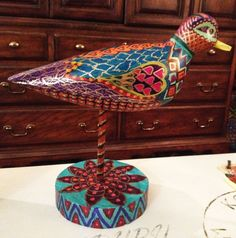 Hand Painted Hand Carved Wooden Bohemian Bird by NanabugsTreasures