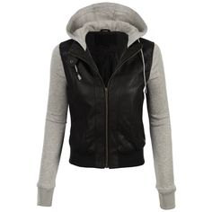 LE3NO Womens Faux Leather Moto Bomber Jacket with Fleece Hoodie ❤ liked on Polyvore featuring outerwear, jackets, snap fleece jacket, collar jacket, flight jackets, bomber jackets and fleece collar jacket