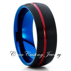 Tungsten Wedding Bands,Black Red Blue Ring,Brushed Tungsten Ring,Unique Tungsten Band,Mans Tungsten Ring,Comfort Fit Ring