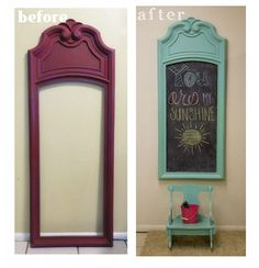 This would be cute for yearly kid pictures, with age, quote ect. Upcycle a Mirror Frame into a Memo-Style Chalkboard!