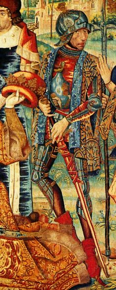 Adoration of the Magi, tapestry woven in Brussels, circa 1476-1488 (Sens Cathedral, France). Detail: this knight's armour was used as a convex mirror, probably indicating that the original designer was familiar with the works of Jan van Eyck and/or Hans Memling.