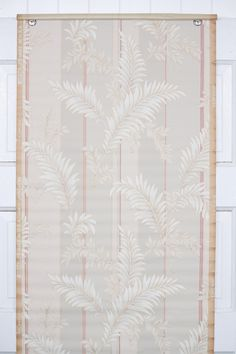 this 1930s vintage wallpaper botanical for sale by the yard in our Etsy store Antique Wallpaper, Botanical Wallpaper, White Leaf, Different Patterns, Pink Grey, 1930s, Etsy Store, Stripes, Antiques