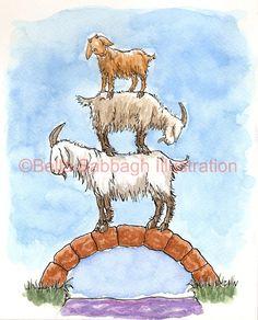 Sketch Inspiration, Painting Inspiration, Watercolor Sketch, Watercolor Paintings, Anita Jeram, Billy Goats Gruff, Goat Art, Fairytale Art, Fabric Painting