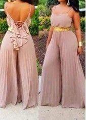 Spaghetti Strap V Back Loose Jumpsuit African Fashion Dresses, African Dress, Fashion Outfits, Womens Fashion, Fashion Styles, High Fashion, Curvy Girl Fashion, Plus Size Fashion, Vetement Fashion