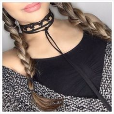 How pretty & easy to layer these beautiful on trend chokers! Silver Choker Necklace, Rhinestone Choker, Black Choker, Dainty Necklace, Earrings, Tassel Bracelet, Lace Jewelry, Chokers, Free Black