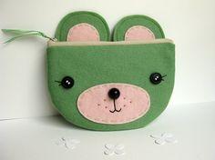 Bolsa de la cremallera del oso verde