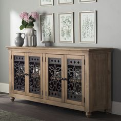 The Basco Buffet Table has a distressed toffee finish and traditional styling that is relaxed, comfortable and perfect for today's home. Home Decor Styles, Diy Home Decor, Room Decor, Sideboard Buffet, Buffet Tables, Wine Credenza, Buffet Cabinet, Media Cabinet, Modern Home Interior Design
