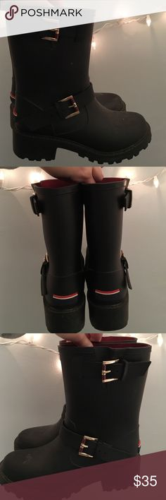 tommy hilfiger rain boots! short black tommy hilfiger rain boots in perfect condition! i have never worn these shoes!! Tommy Hilfiger Shoes Winter & Rain Boots