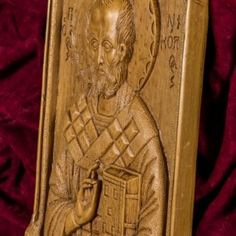Saint Nicholas aromatic wall icon/plaque made with pure beeswax, mastic and incense from Mount Athos.