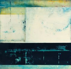 """Horizon-09-33""""x33"""", encaustic, pigments on panel.  Is this by Kandy Lozano?  Looks like her work."""