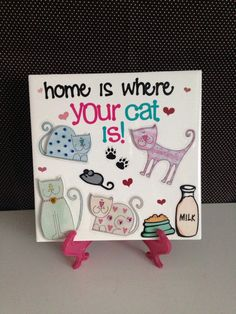 Home is Where Your Cat Is Ceramic Tile Home Decor by crazydaisy12