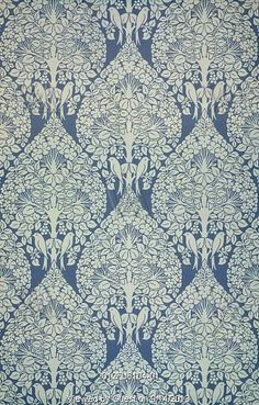 portion of the lerena wallpaper, designed by c.f.a. voysey (1857-1941), manufactured by essex & co, essex, england, c.1897
