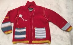 Catimini Girls Boys Size 18 Months 80cm Red Knit Cardigan Sweater Zip Jacket  | eBay