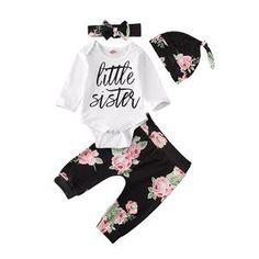 Newborn Infant Baby Girl Cute Halloween Long Sleeve Outfit Little Sister Jumpsuit Outfit, Pants Outfit, Outfits With Hats, Girl Outfits, Baby Girl Pajamas, Long Sleeve Outfits, Baby Girl Bows, Floral Sleeve, Pink Kids