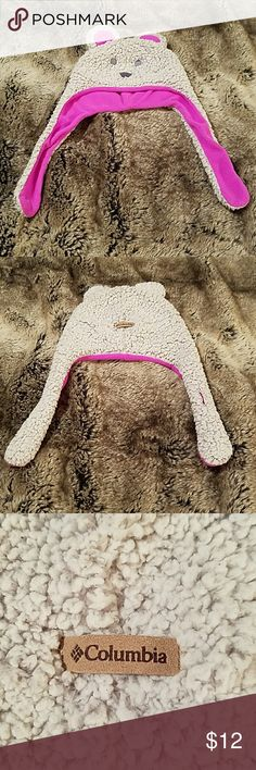Adorable Columbia Baby Girls Winter Hat Cutest winter hat ever!! ?? Little bear hat. Light Gray and bright pink. It says o/s youth...but if say 0-12 months. Excellent condition. Columbia Other