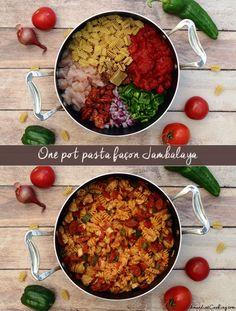 One pot pasta façon jambalaya Amandine Cooking - One pot rezepte Asian Dinner Recipes, Shrimp Recipes For Dinner, Shrimp Recipes Easy, Lunch Recipes, Healthy Recipes, Easy Recipes, Healthy Food, Jambalaya, Batch Cooking