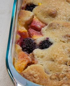 Blackberry Peach Cobbler I made this with fresh blackberries and frozen peaches. I would not put the dough on the top next time...too dry.  In fact I pulled it off after I baked it and melted some butter and bourbon and poured over the cobbler to add moistness.