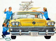 Fifties Family Car Wash ~ 1958 Buick ad.