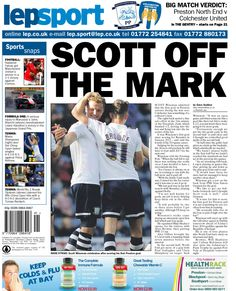 Lancashire Evening Post back page - Scott off the mark - 06/10/14