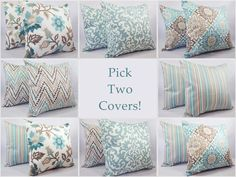 Blue and Brown Pillow Covers  Two 16 x 16 by CastawayCoveDecor, $28.00