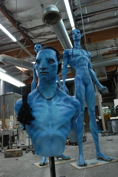 Behind the scenes: the Avatar team created life-size Na`vi models to give actors the proper sight lines and a real sense of their 9-foot tall stature.