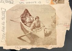"""Three Women and Infant in Cradleboard in Canoe,"" Charles Zimmerman (NAA INV 01601913) [Chippewa]"