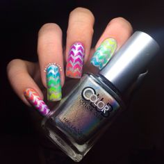 Chevron Gradient Nail Art | Polished Inka