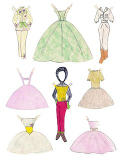 Hjemmetegnet påklædningsdukke fra 1958. Homemade Paper Doll from 1958 - maria cristina rosales - Picasa Webalbum