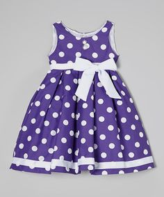 Another great find on #zulily! Purple Polka Dot Bow Dress - Toddler #zulilyfinds