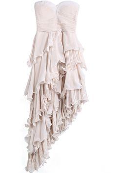 Asymmetrical Ruffle Chiffon Dress