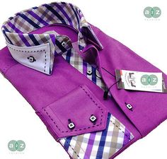New Mens Formal Smart Casual Purple & White Italian Slim Fit Double Collar Shirt in Clothes, Shoes & Accessories, Clothes, Shoes & Accessories | eBay