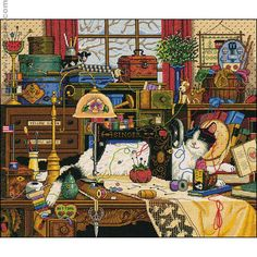 Sewing Room Embroidery ~ charles wysocki (Incredible cross stitch - would make a great jigsaw puzzle!)