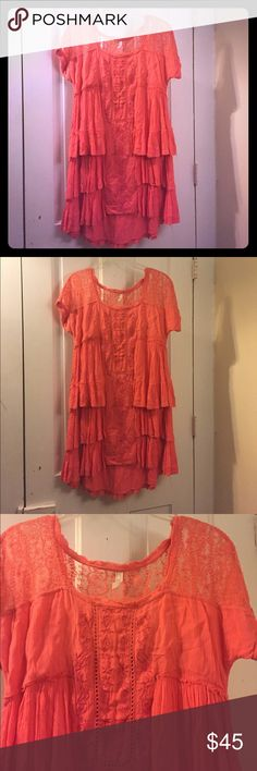 Free People Ruffle Layer Dress with Lace Orange/pink ruffle dress from Free People. Size XS. Amazing detailing and material. Free People Dresses