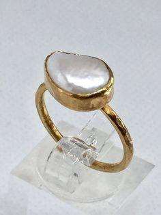 Modest Fingerring 925 Silber Vergoldet Echte Süßwasserperle 9mm Zirkon Perlen Schmuck Uhren & Schmuck Echtschmuck